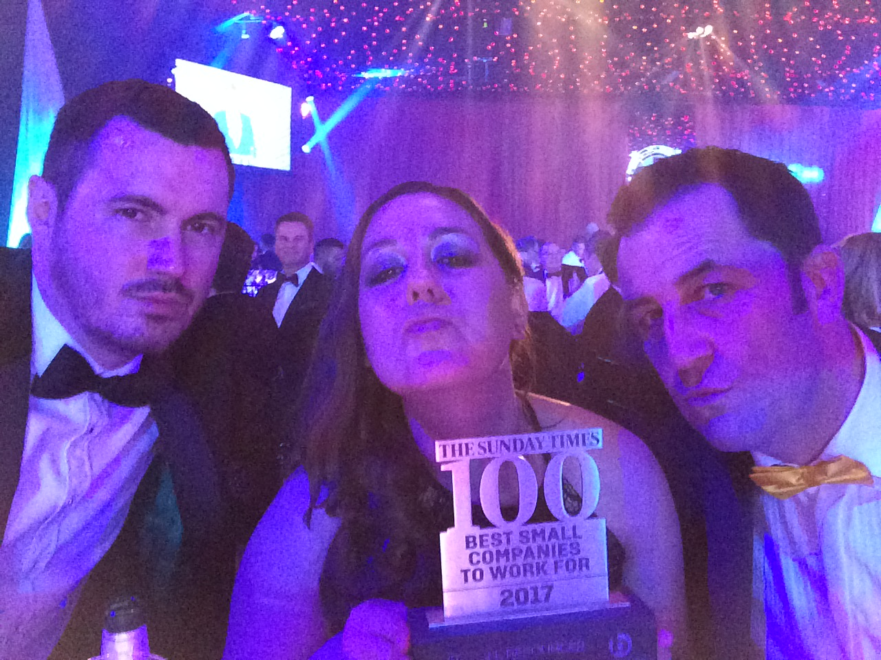 Sunday Times 100 Best Small Companies to Work For, 2017, Trophy, Ricky Knight, Ellie Fletcher, Tremayne Hall, Pout