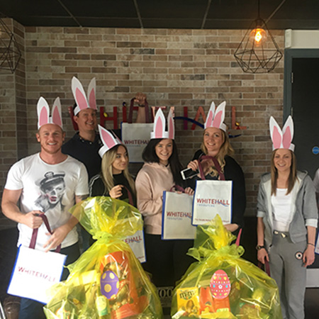 easter celebrations, tote bags, hampers, bunny ears, fun at work