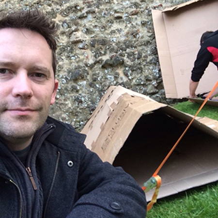 paul ashton, cardboard box, homeless, castle, dan applebys arm, string, grass