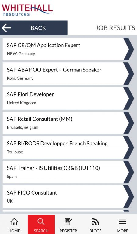 Whitehall resources, SAP, oracle and IT Recruitment APP, Job results
