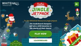 Santa makes his last delivery through the Whitehall Jingle-Jetpack game